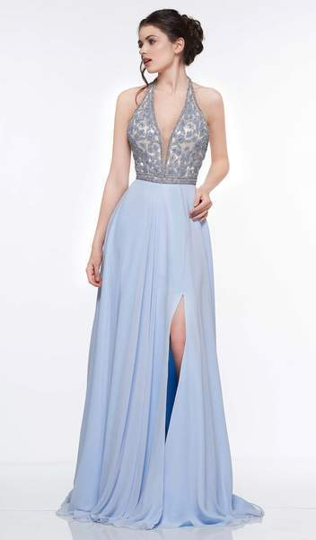 Colors Dress - 2051 Floral Beaded Plunging Halter Chiffon Gown In Blue