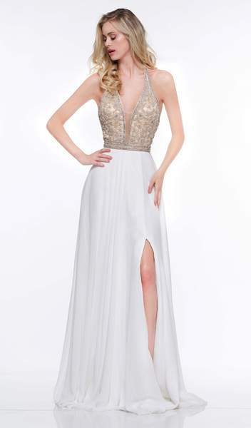 Colors Dress - 2051 Floral Beaded Plunging Halter Chiffon Gown In White