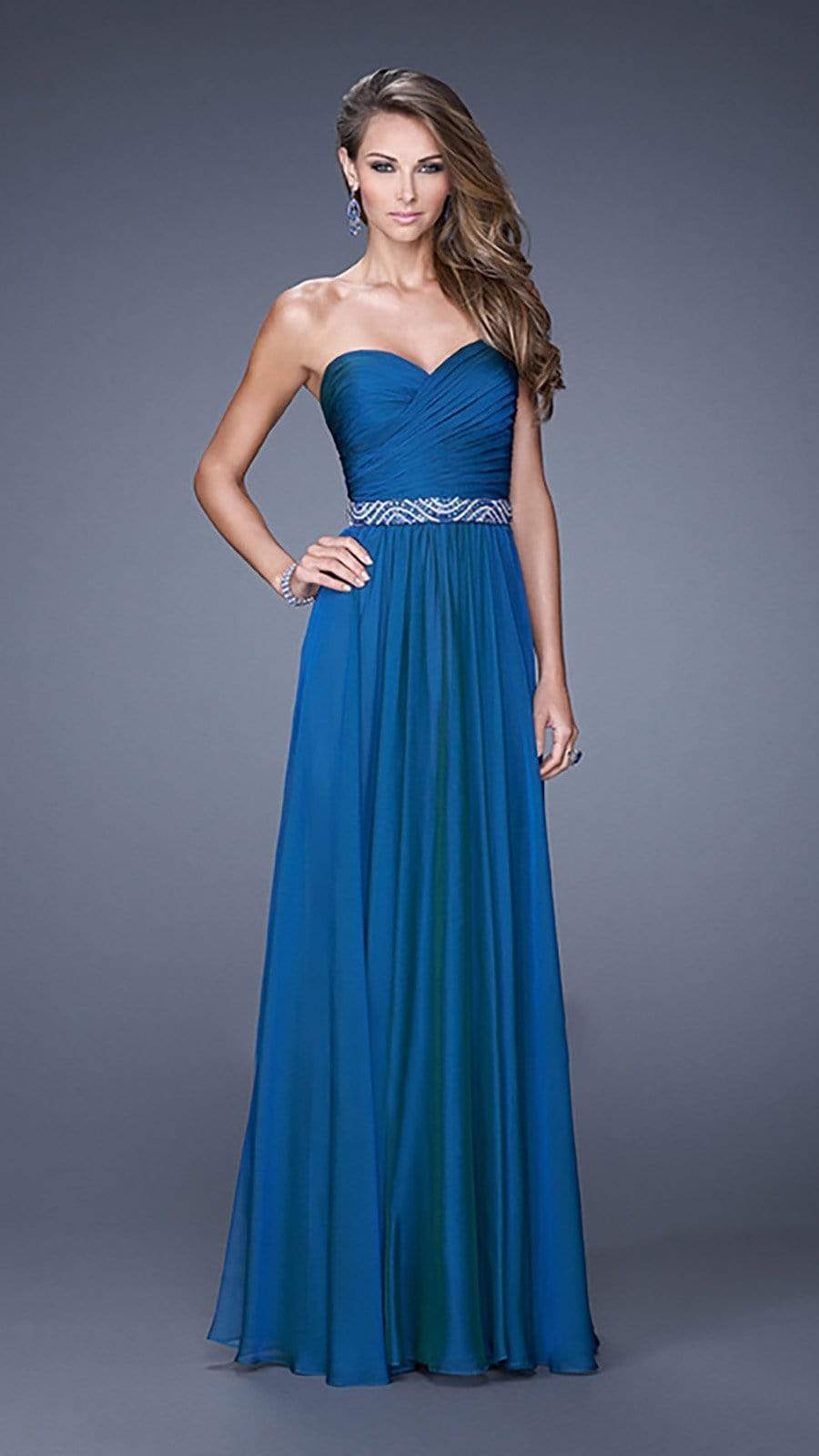 La Femme - 20527SC Sleeveless Bead Applique Open Back Long Dress