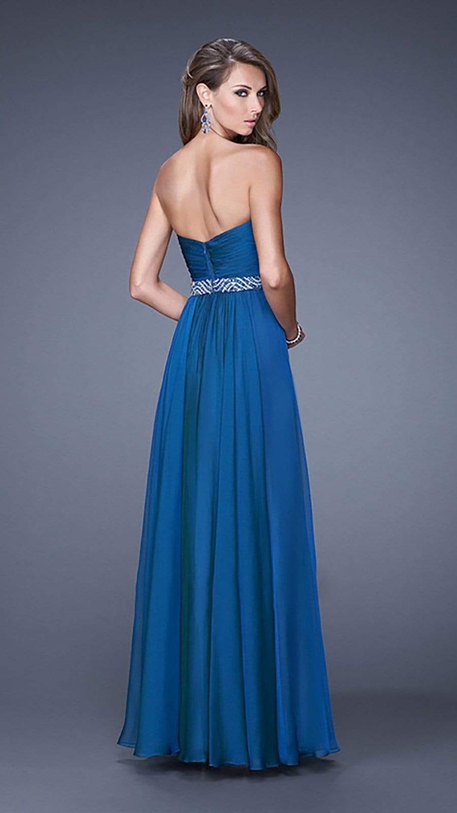 La Femme - 20527 Wrap Ruched Chiffon Gown Special Occasion Dress