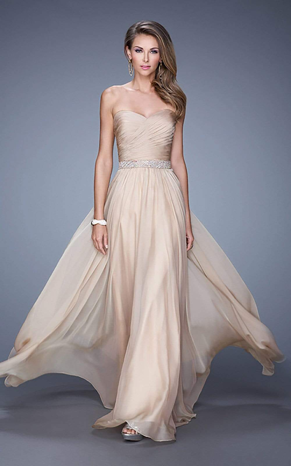 La Femme - 20527 Wrap Ruched Chiffon Gown Special Occasion Dress 00 / Nude