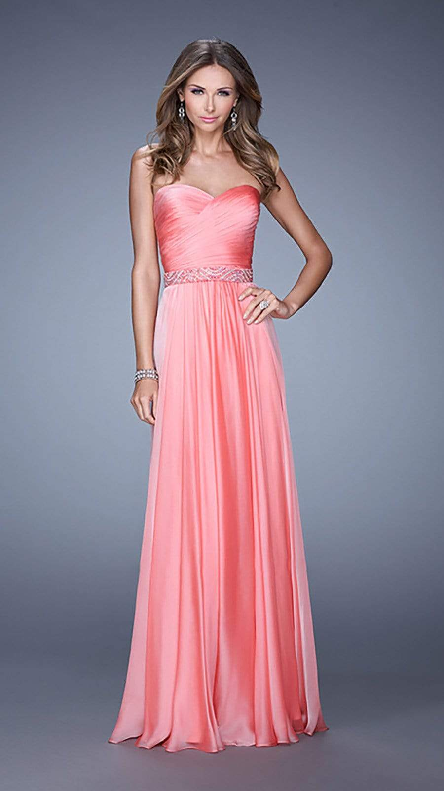 La Femme - 20527 Wrap Ruched Chiffon Gown Special Occasion Dress 00 / Coral