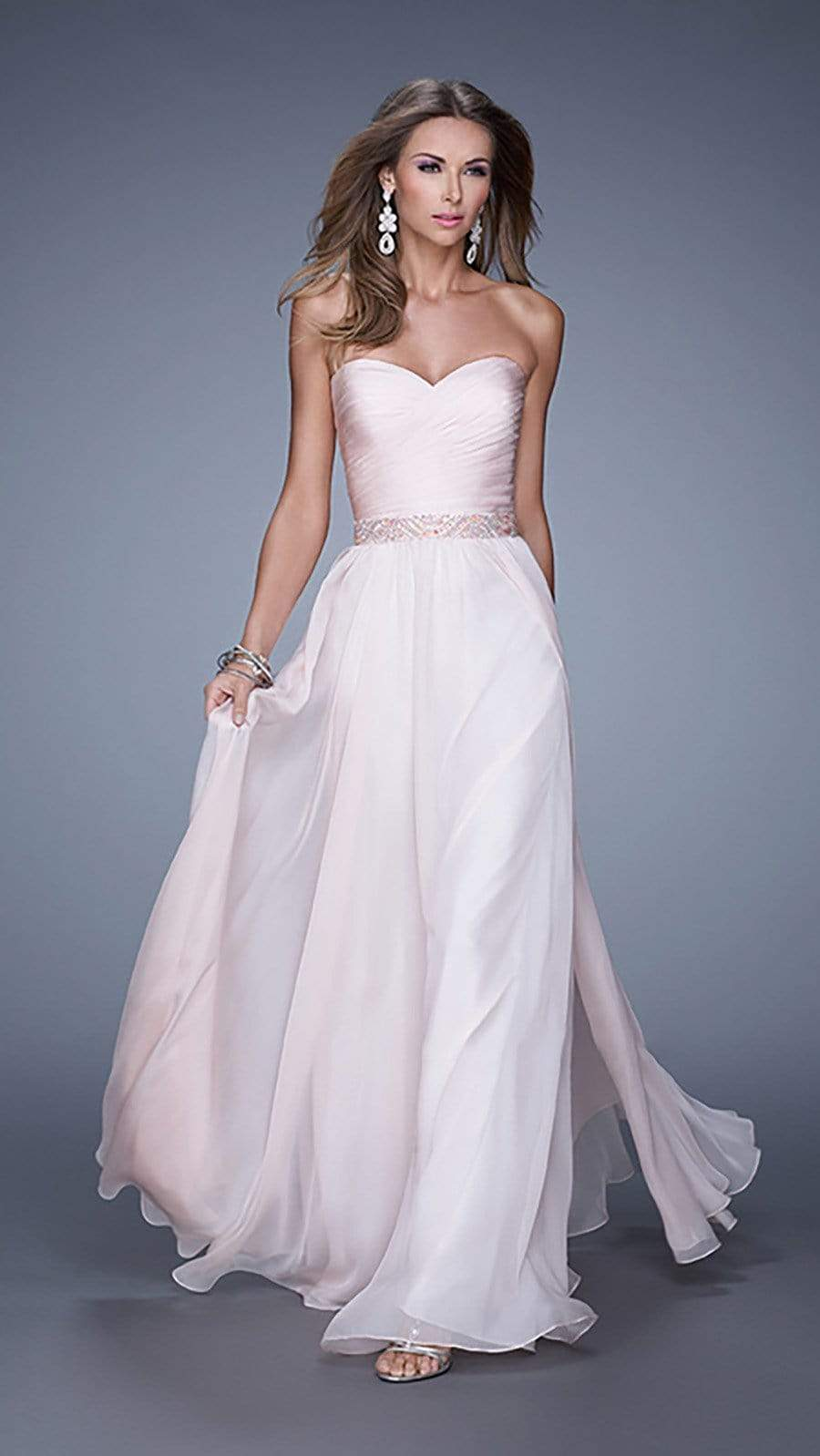 La Femme - 20527 Wrap Ruched Chiffon Gown Special Occasion Dress 00 / Blush