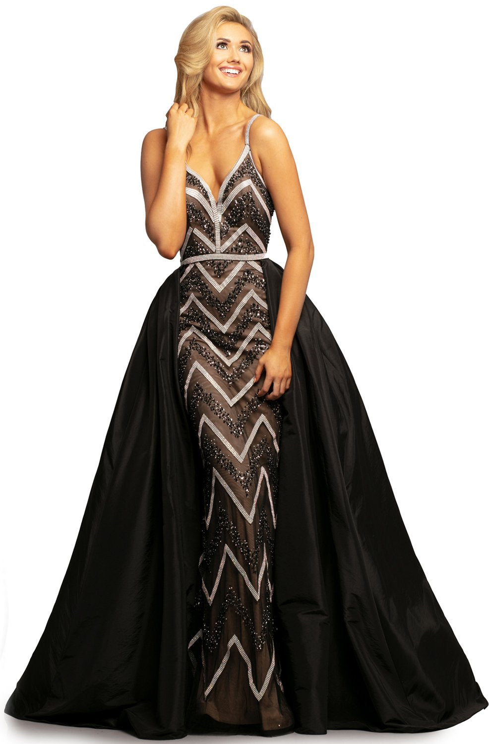Johnathan Kayne - 2052 Embellished Dress with Ballgown Overskirt In Black and Neutral
