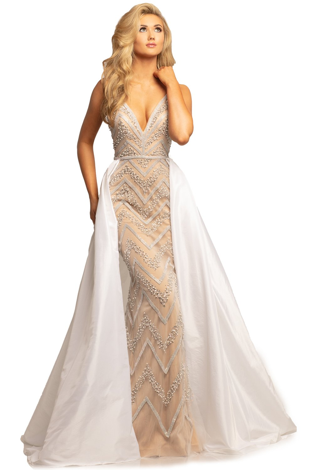 Johnathan Kayne - 2052 Embellished Dress with Ballgown Overskirt In White and Neutral