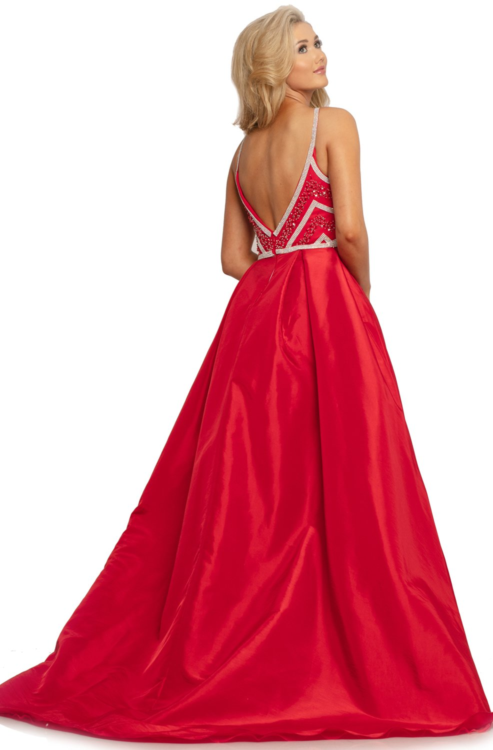 Johnathan Kayne - 2052 Embellished Dress with Ballgown Overskirt In Red