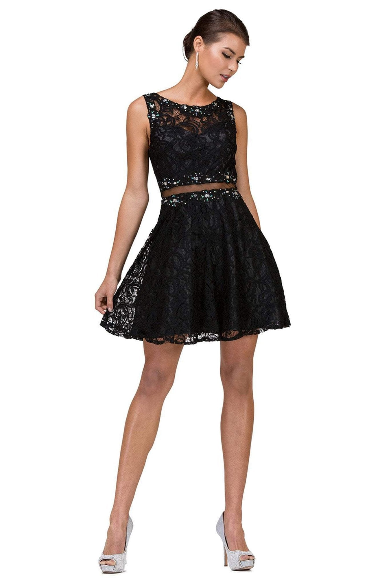Dancing Queen Illusion Midriff Jeweled Lace A-Line Dress - 1 pc Black In Size S Available In Black
