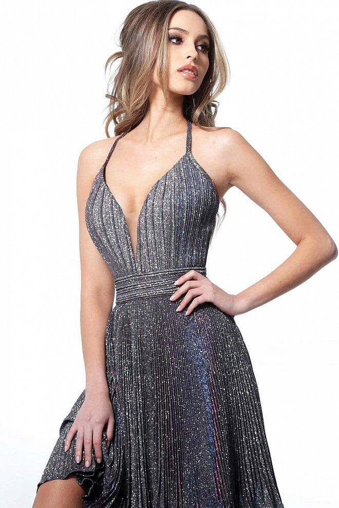Jovani - 2087 Halter Plunging Neckline Pleated Glitter Short Dress in Purple