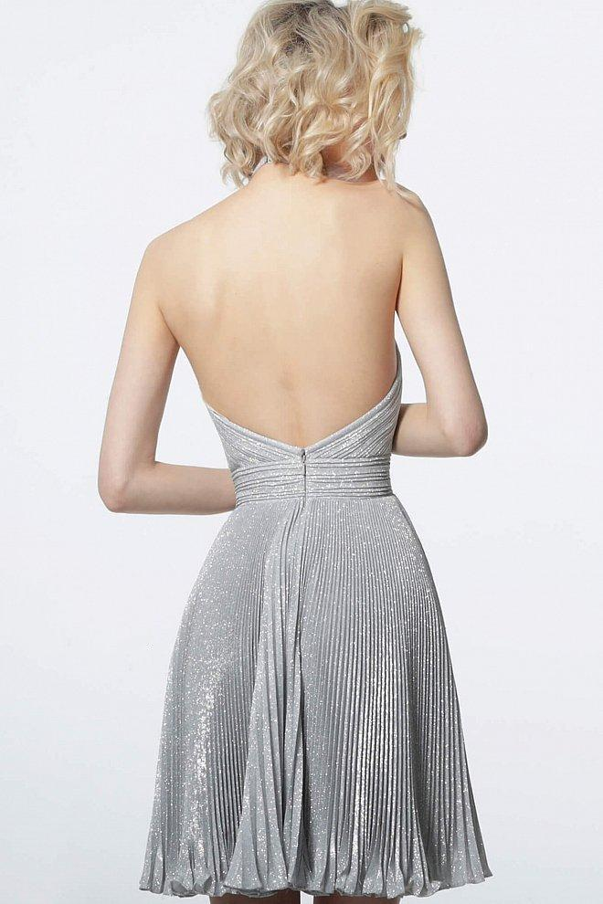Jovani - 2087 Halter Plunging Neckline Pleated Glitter Short Dress in Silver