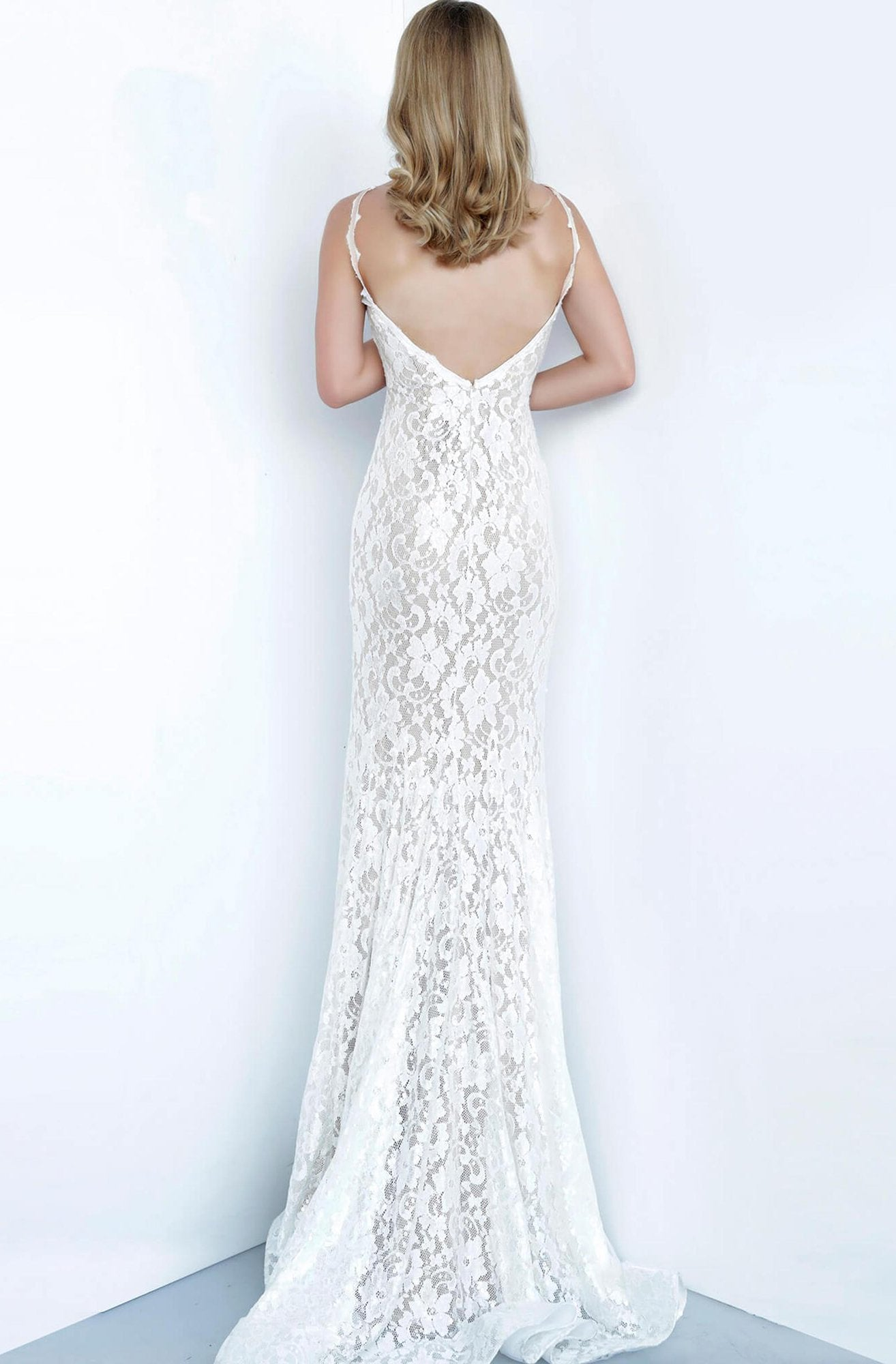 Jovani - 8081 Allover Lace Sleeveless Halter Neck Fitted Prom Dress In White