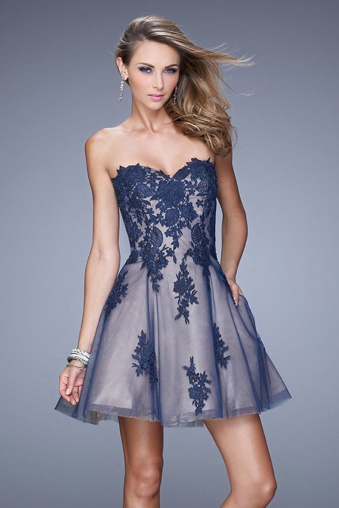 La Femme - 21213SC Lace Embroidered Sweetheart A-Line Dress