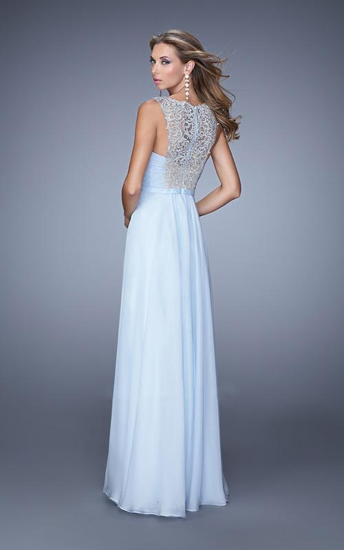 La Femme - 21222SC Embroidered Ornate Bodice Chiffon Dress