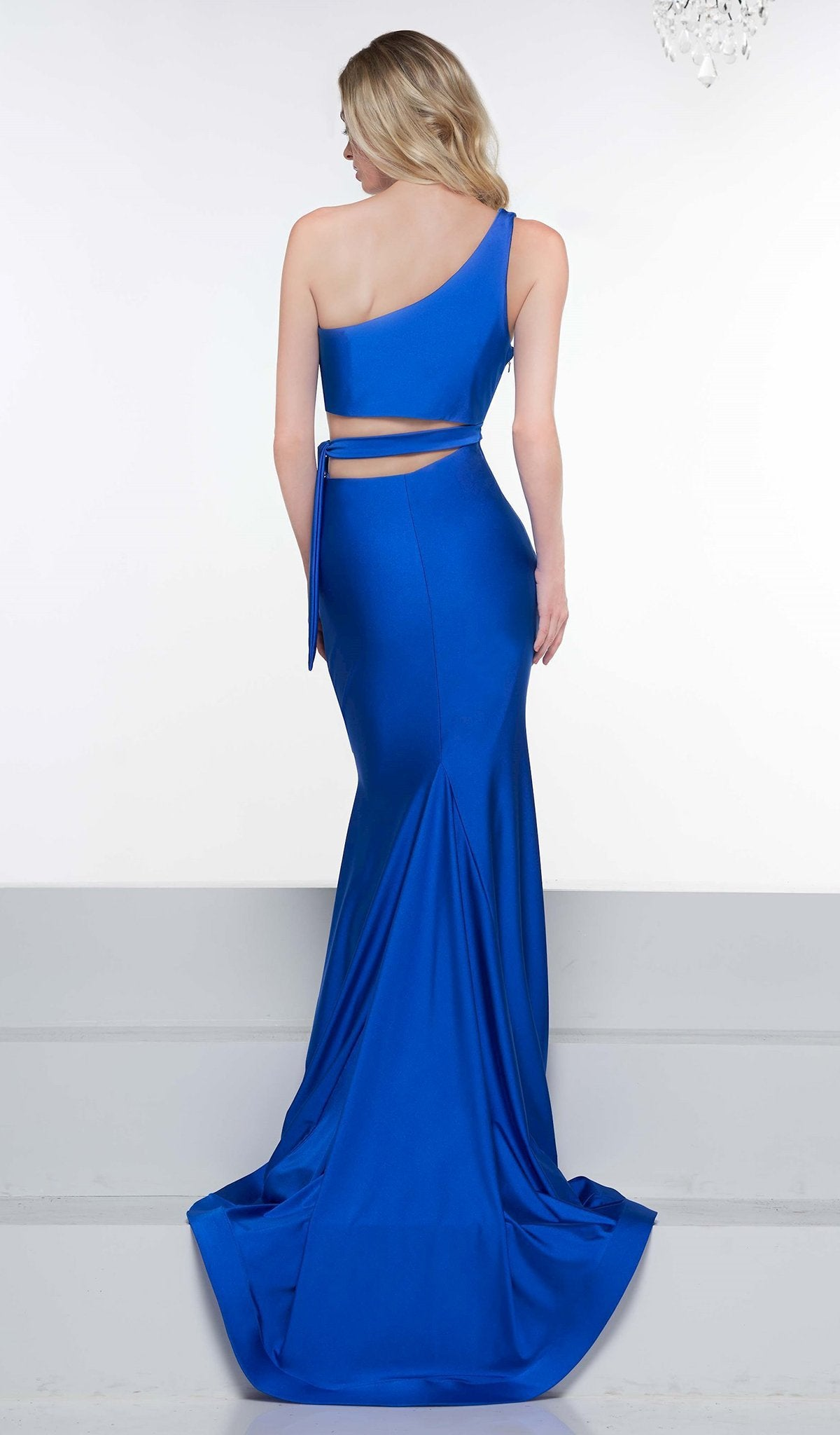 Colors Dress - 2137 Asymmetrical Exposed Midriff High Slit Gown In Blue
