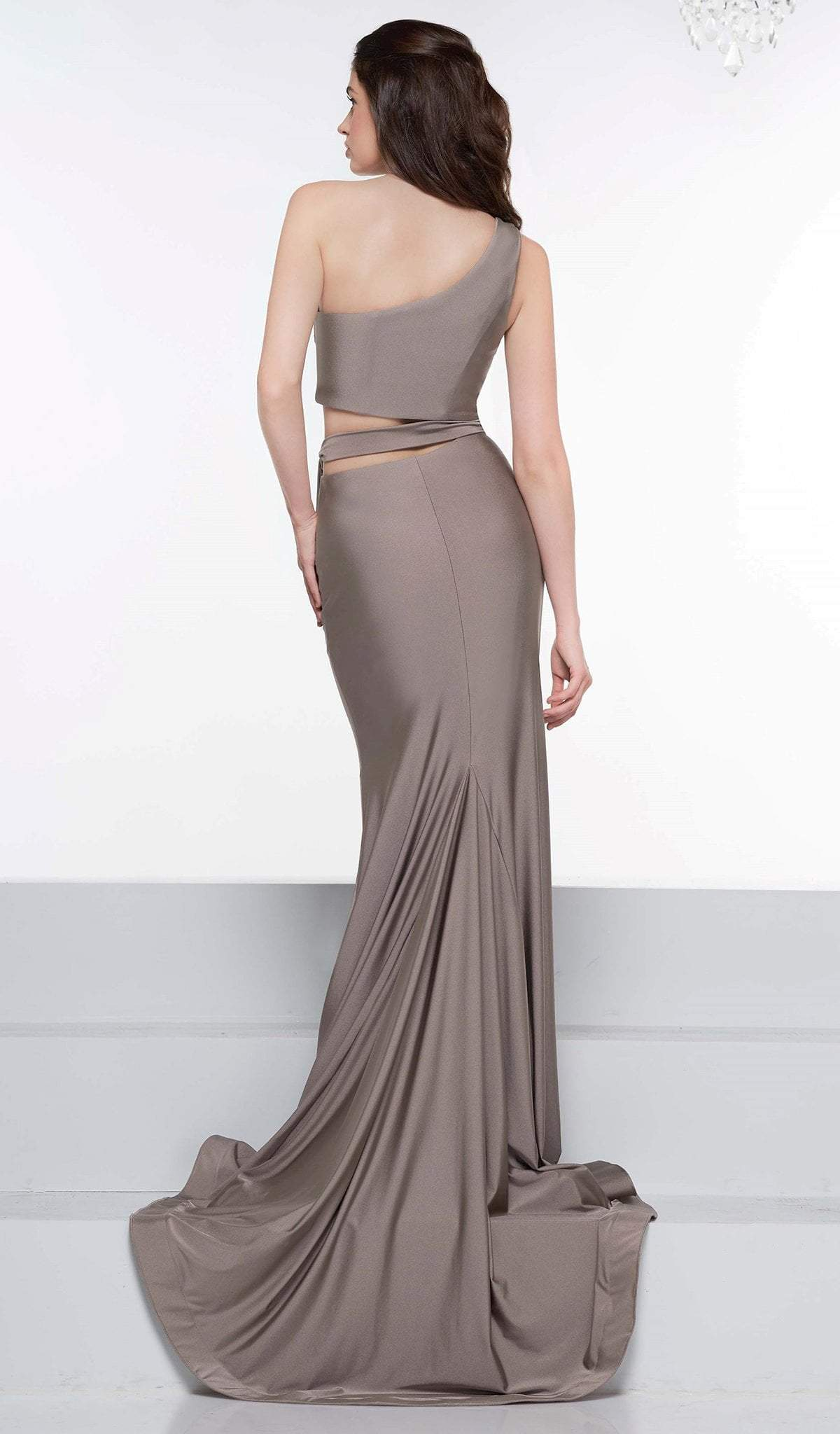 Colors Dress - 2137 Asymmetrical Exposed Midriff High Slit Gown In Brown and Gray