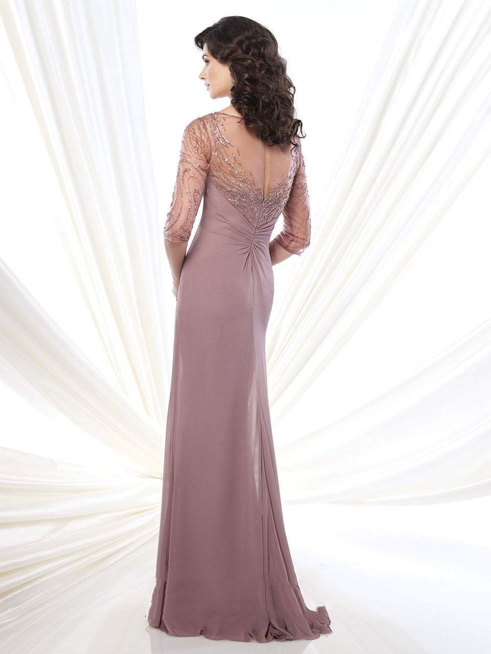 Mon Cheri - 215919SC Knotted Embellished Sheath Evening Gown
