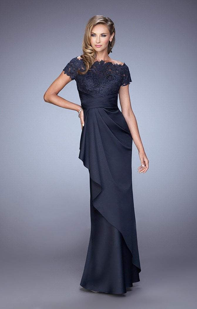 La Femme - Lace Ruched Ruffled Accented Evening Dress in Blue