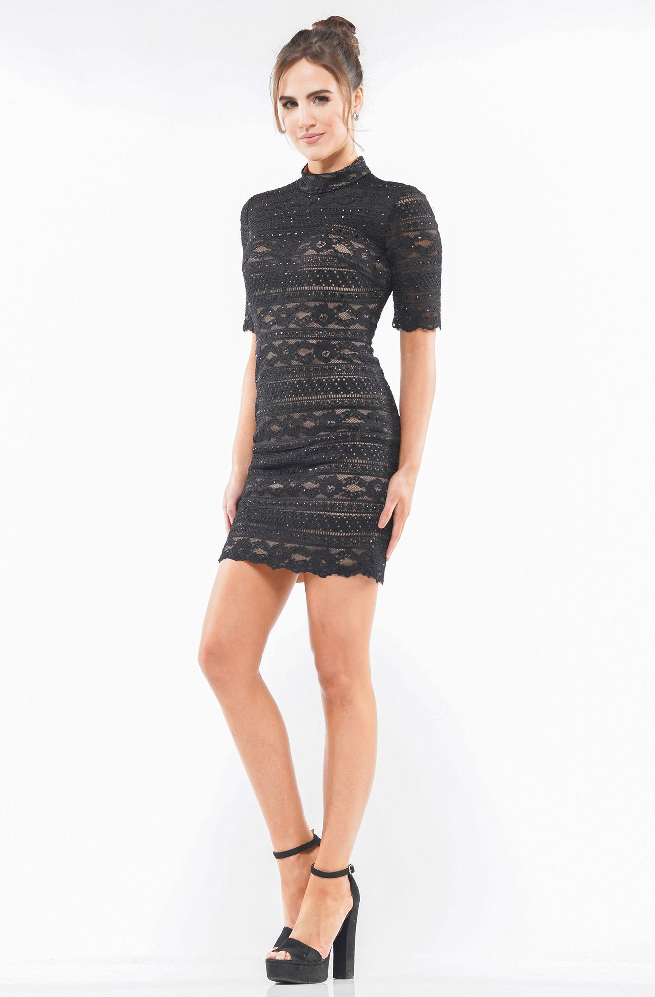 Colors Dress - 2162 Lace High Neck Sheath Dress in Black