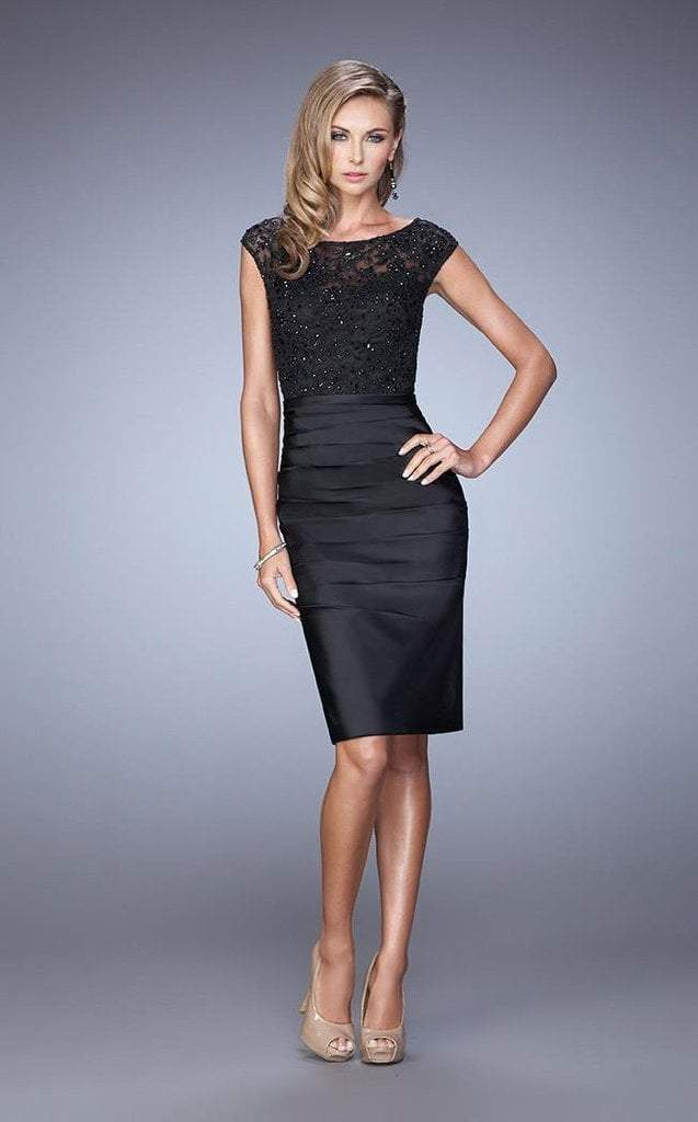 La Femme Embroidered Lace Cocktail Dress 21633 In Black
