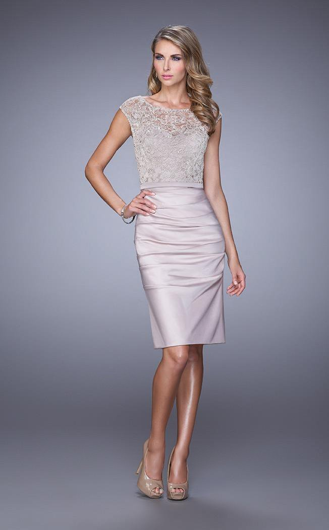 La Femme Embroidered Lace Cocktail Dress 21633 in Neutral
