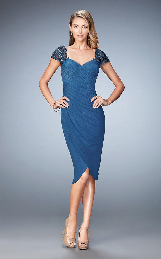 La Femme - 21648 Embellished Cap Sleeve Ruched Jersey Dress In Slate Blue