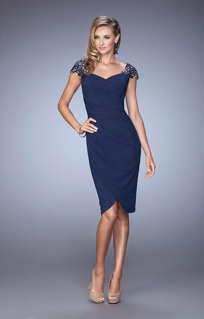 La Femme - 21648 Embellished Cap Sleeve Ruched Jersey Dress In Navy