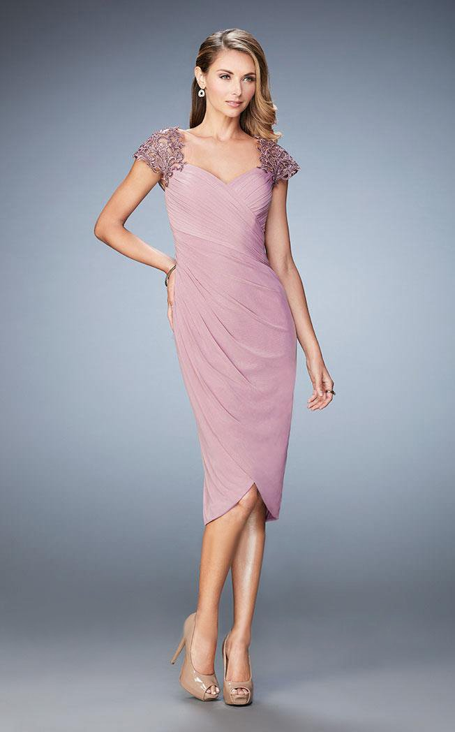 La Femme - 21648 Embellished Cap Sleeve Ruched Jersey Dress In Mauve