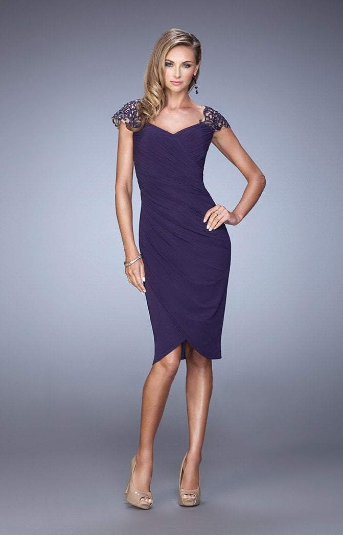 La Femme - 21648 Embellished Cap Sleeve Ruched Jersey Dress In Plum