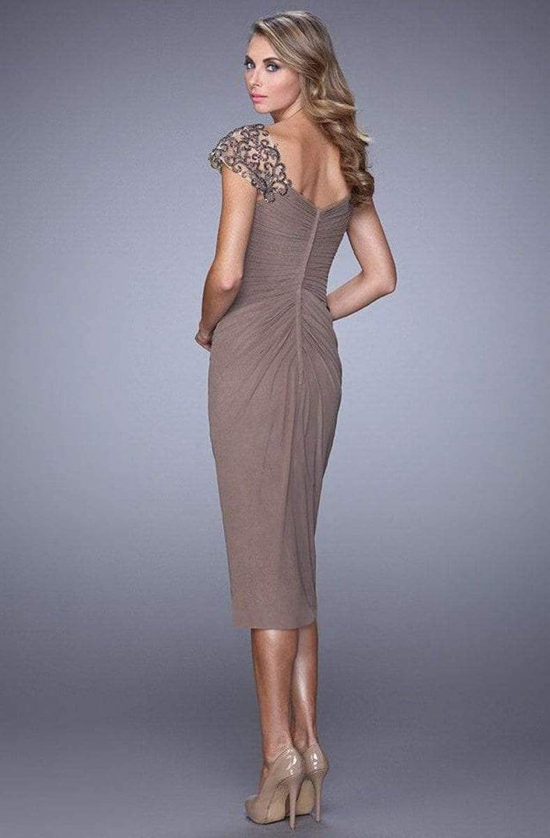 La Femme - 21648 Embellished Cap Sleeve Ruched Jersey Dress In Taupe