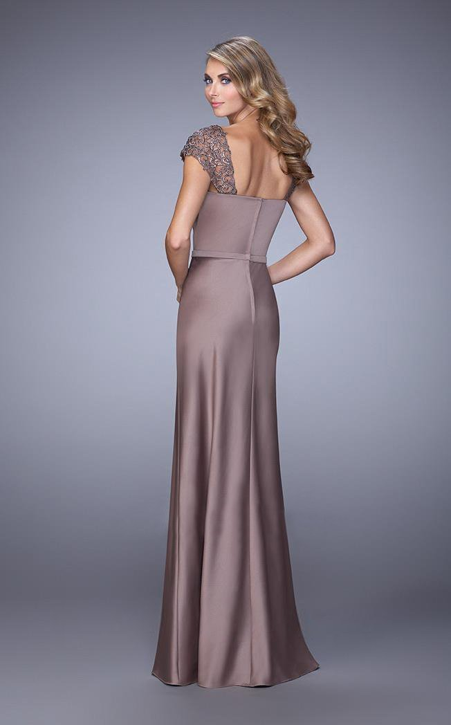 La Femme - Embroidered Modified Sweetheart Satin Dress 21654 In Brown