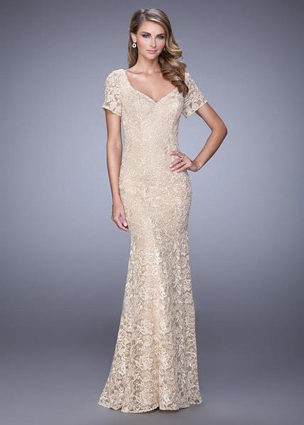La Femme - Charming Lace Long Evening  Dress 21657 In Neutral