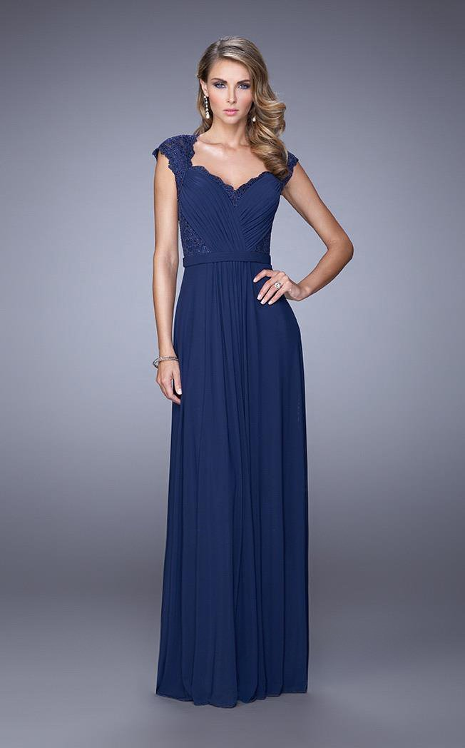 Ruched V Neck Cap Sleeves Sheath Long Gown 21685 In Blue