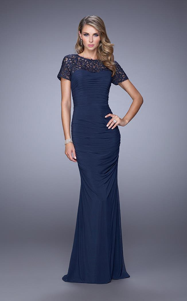 La Femme - 21713SC Lace Bateau Neck Ruched Long Dress