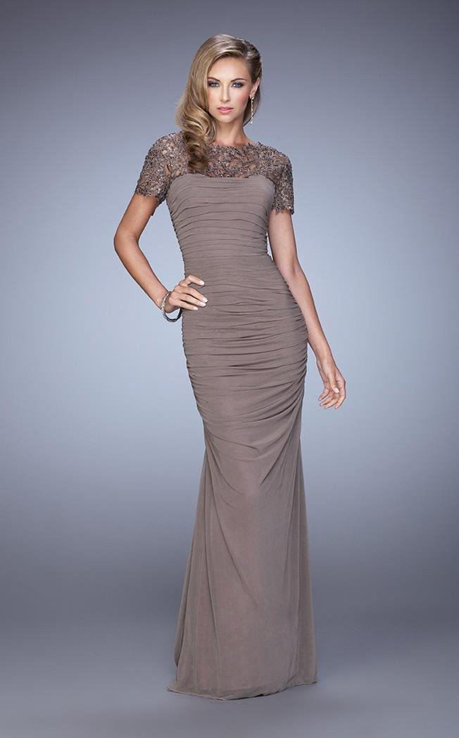La Femme Laced Bateau Neck Sheath Dress 21713 In Taupe