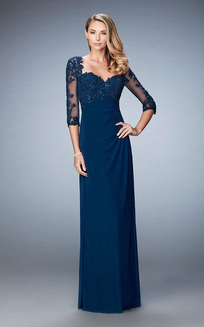 La Femme Illusion Lace Quarter Sleeve Draped Gown 21750 in Blue