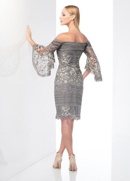 Social Occasions by Mon Cheri - 218801 Embroidered Lace Sheath Dress In Gray and Multi-Color