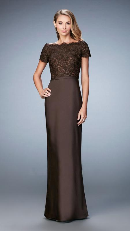 La Femme - 21962SC Off-Shoulder Beaded Lace Sheath Evening Dress