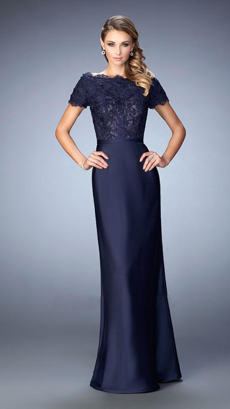 La Femme - Beaded Lace Off-Shoulder Gown 21962 in Blue