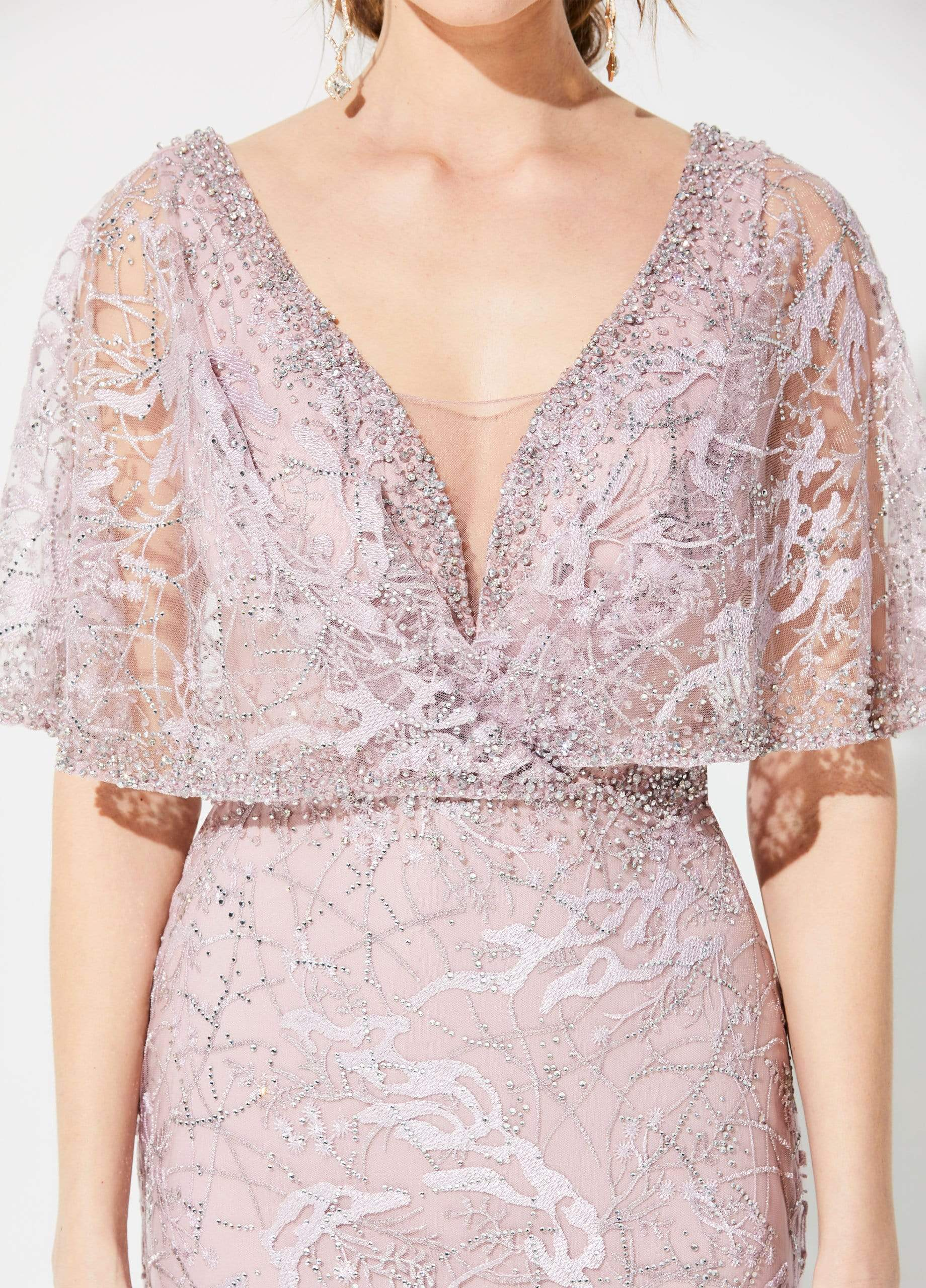 Ivonne D for Mon Cheri - 219D72 Embroidered Kimono Sleeve Lace Gown In Pink