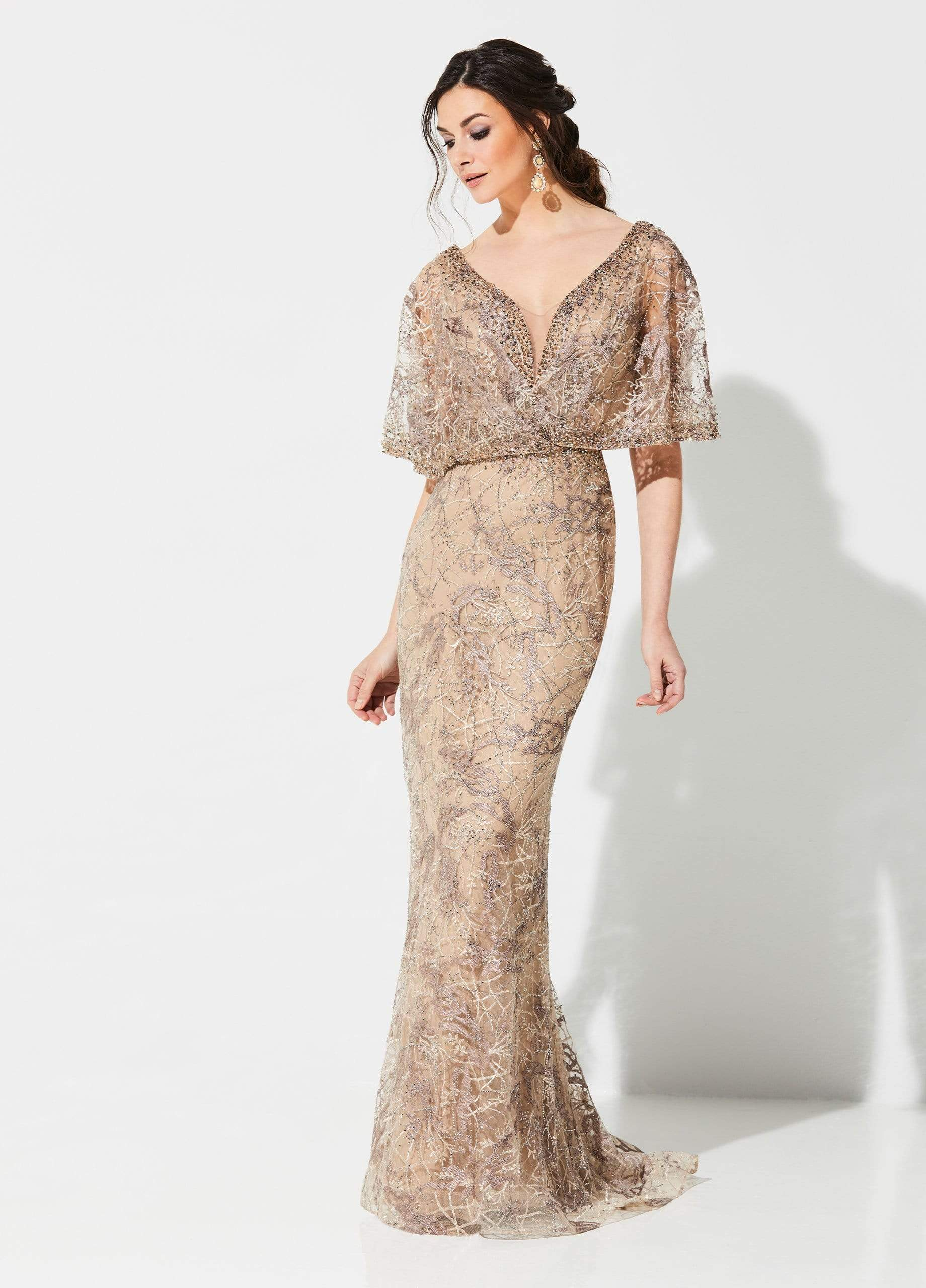 Ivonne D for Mon Cheri - 219D72 Embroidered Kimono Sleeve Lace Gown In Gold and Neutral
