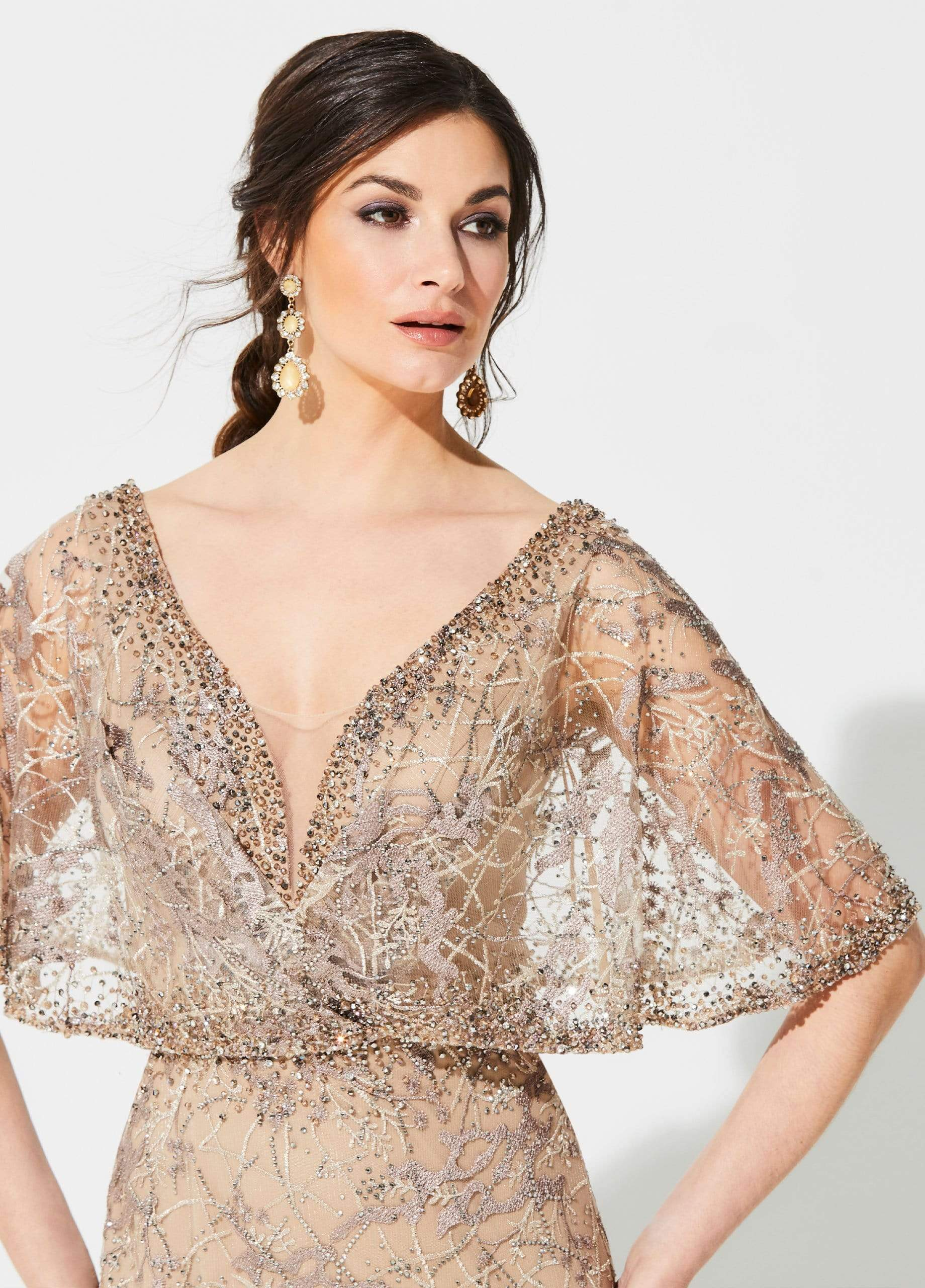 Ivonne D for Mon Cheri - 219D72 Embroidered Kimono Sleeve Lace Gown Mother of the Bride Dresses