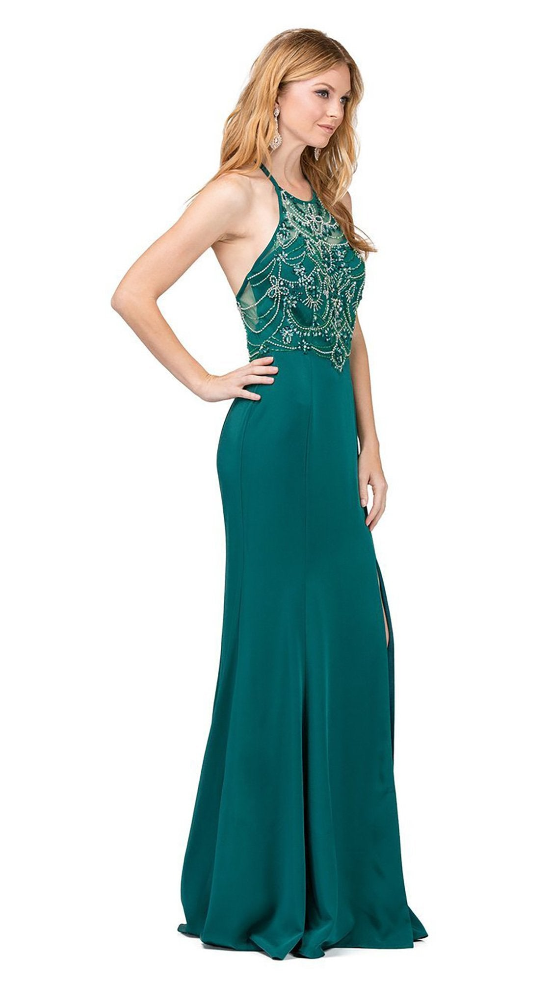 Dancing Queen Illusion Halter Jeweled Garland Motif Sheath Gown - 1 pc Hunter Green In Size M Available In Green
