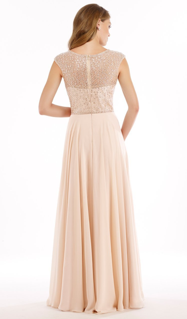 Rina Di Montella - RD2208 Embellished Sheer Bateau Chiffon A-line Gown in Neutral