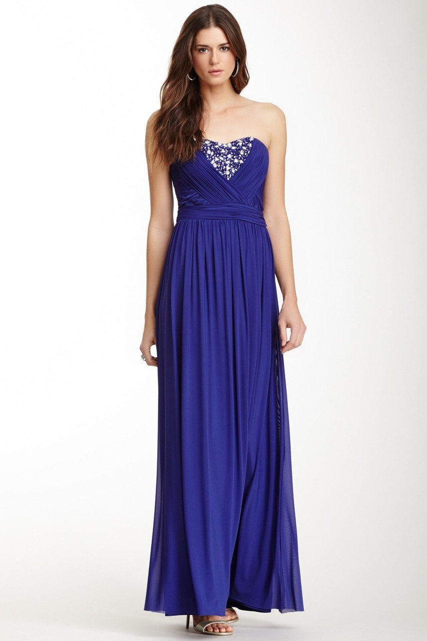 Decode 1.8 - 181935 Strapless Sweetheart Gemstone Detailed Gown in Purple