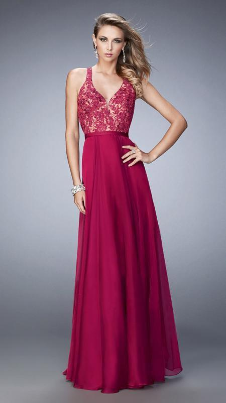 La Femme - 22186SC Sleeveless V Neck Beaded Lace Bodice Chiffon Gown