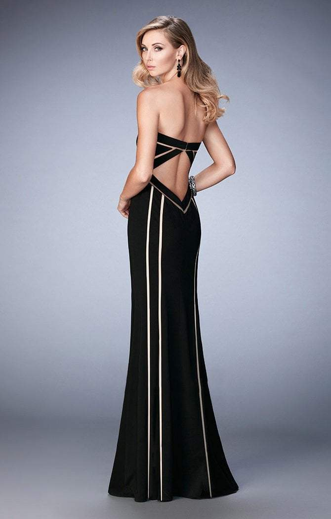 La Femme Sweetheart Illusion Striped Evening Gown 22205 - 1 pc Black In Size 6 Available In Black