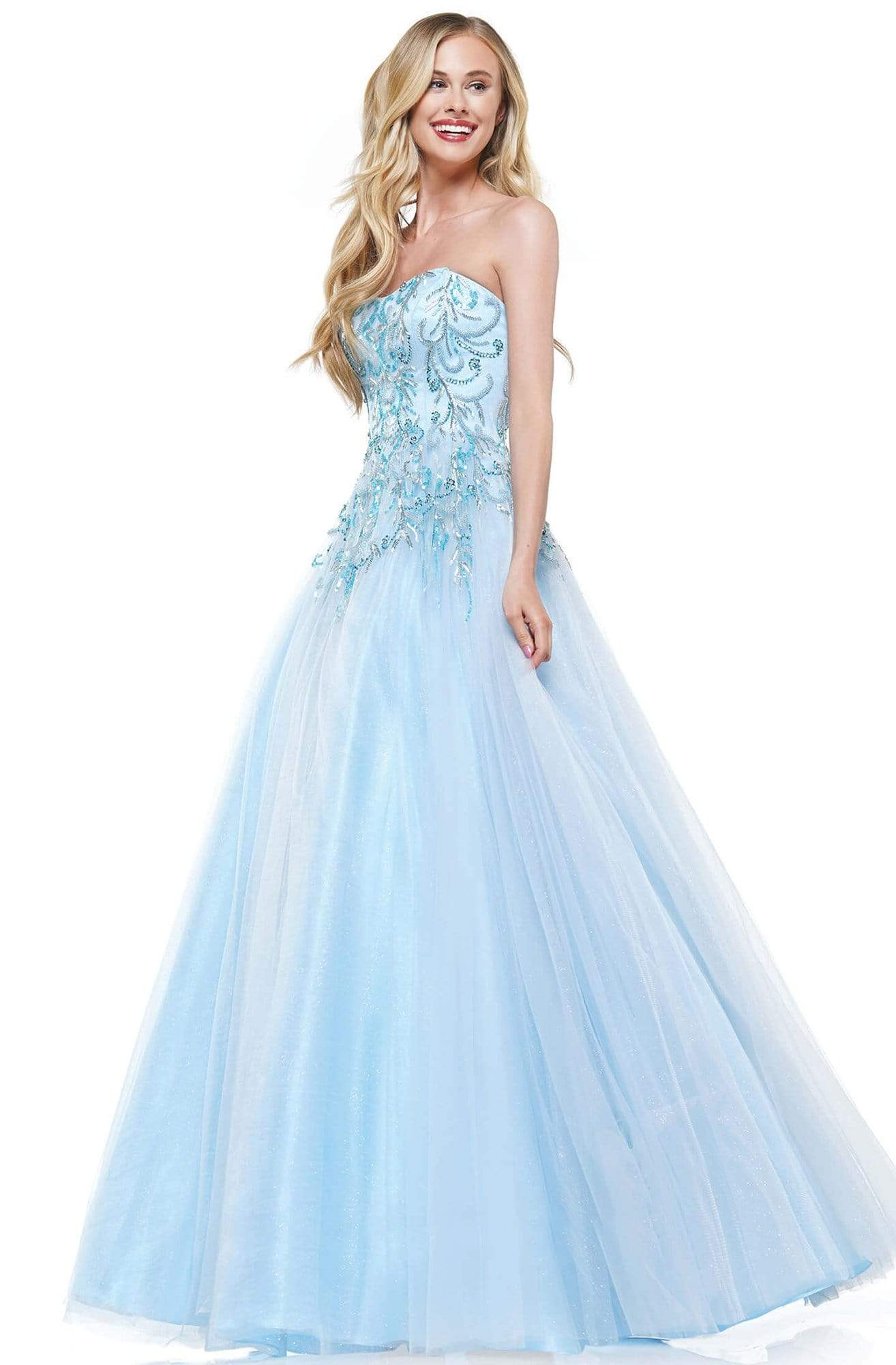 Colors Dress - 2226 Strapless Swirl-Motif Glitter Tulle Gown In Blue
