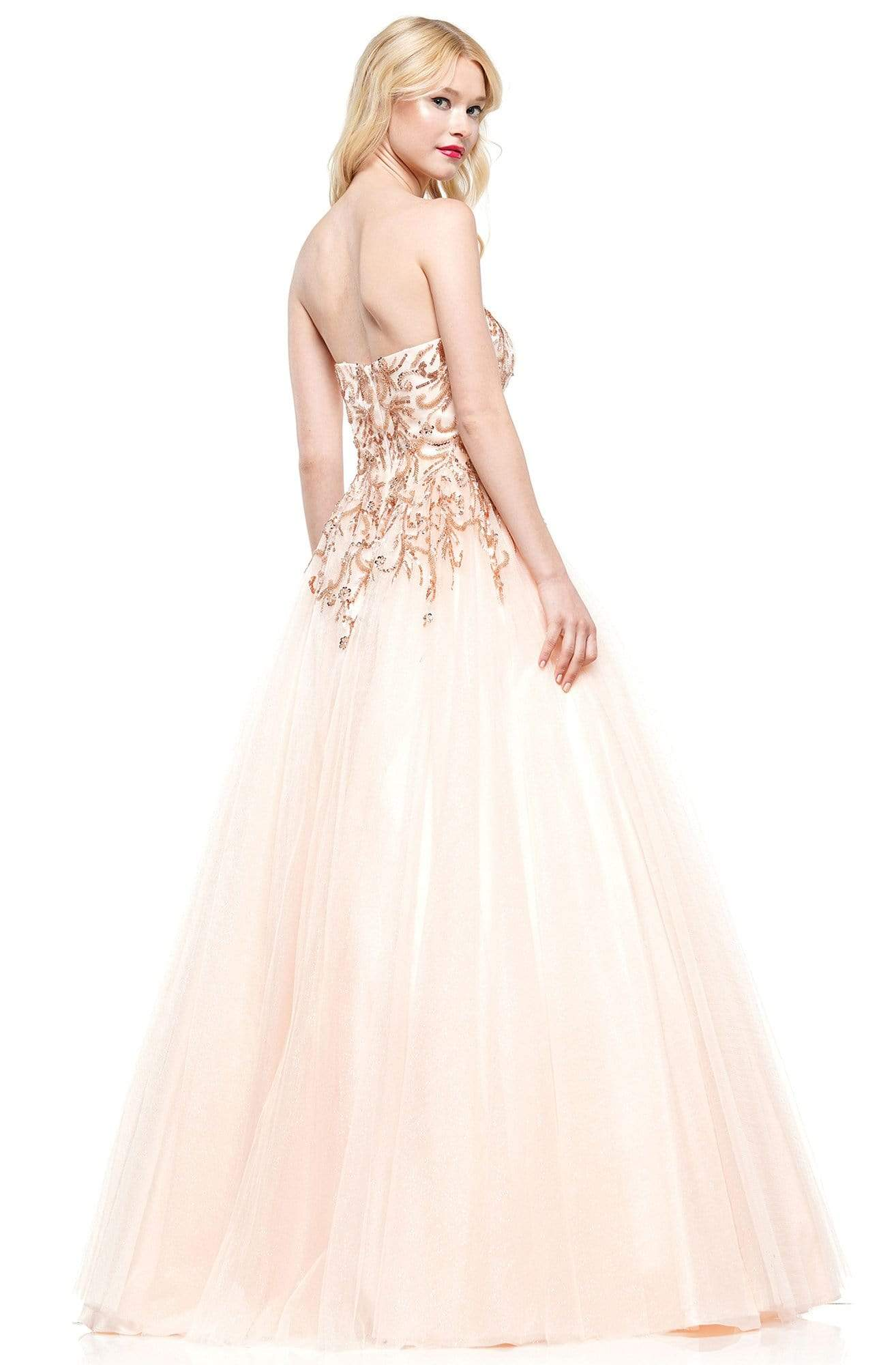 Colors Dress - 2226 Strapless Swirl-Motif Glitter Tulle Gown In Pink