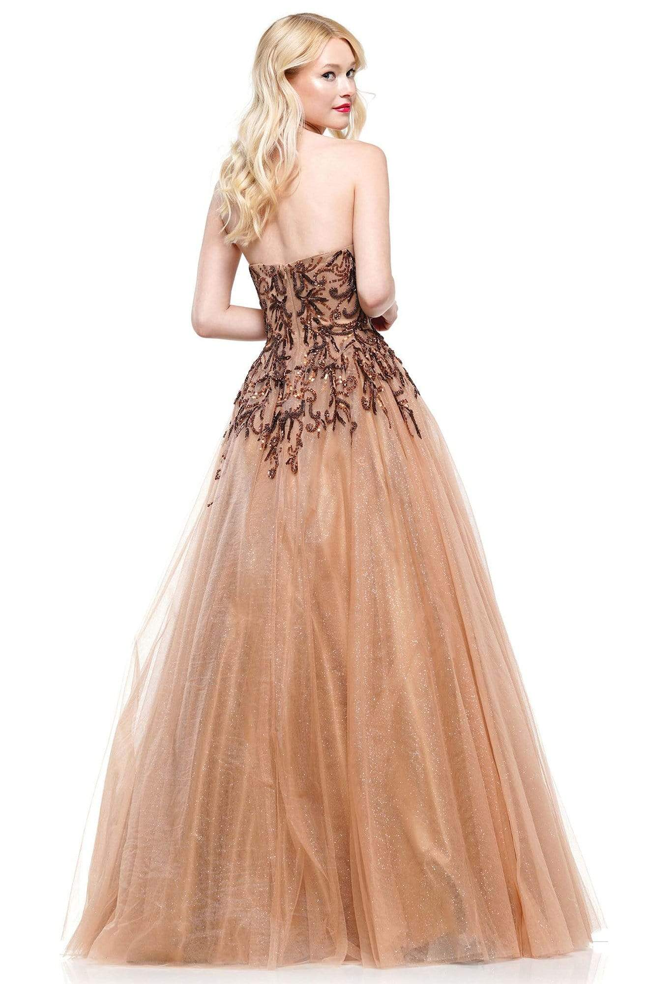 Colors Dress - 2226 Strapless Swirl-Motif Glitter Tulle Gown In Brown