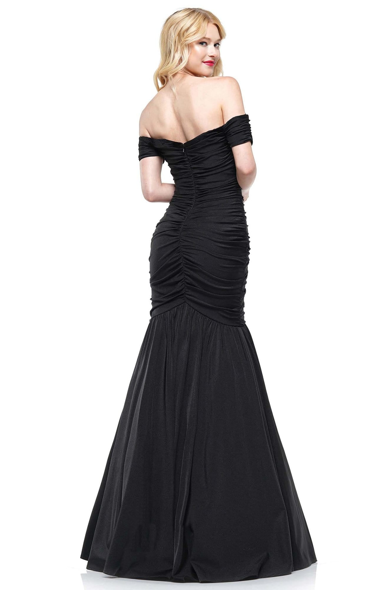 Colors Dress - 2227 Ruched Off Shoulder Mermaid Gown In Black