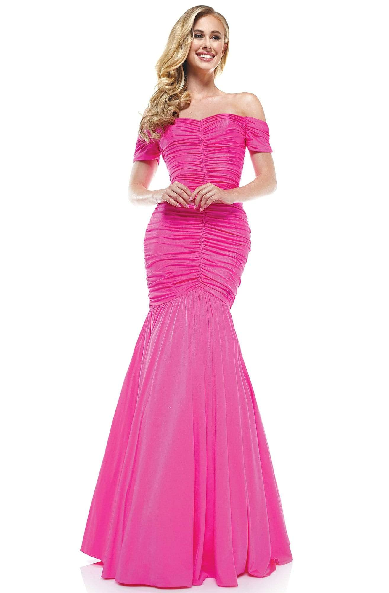 Colors Dress - 2227 Ruched Off Shoulder Mermaid Gown In Pink